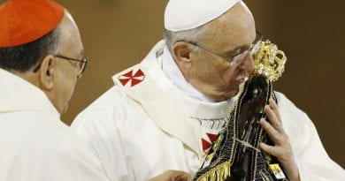 "Pope recounts story of miraculous statue. ""After having recovered both parts, the image of the Virgin of Aparecida became so heavy that they could not move it. """