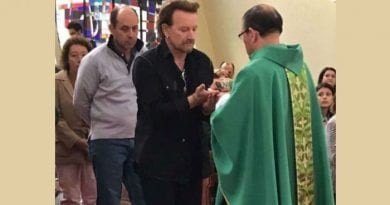 "In the Category of: ""Who are we to judge?""    U2's Bono goes to mass. ""He came alone, prayed in silence, and received the Eucharist"