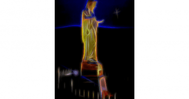 Portrait of Our Lady The Queen of Peace on Apparition Hill By Sacred Artist Dino Carbetta