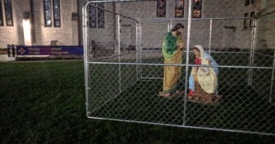 "Church Puts Holy Family in Barbed Wire Cage.. ""On our lawn tonight we placed The Holy Family in ICE detention."""