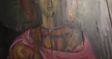 Painting of St. Michael the Archangel Weeps in Greece