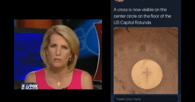 Claim:  Eucharistic Host with Crucifix Appears in US Capitol Rotunda – Fox News Host Laura Ingraham Reports