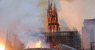 NOTRE DAME CATHEDRAL BURNS SPIRE COLLAPSES