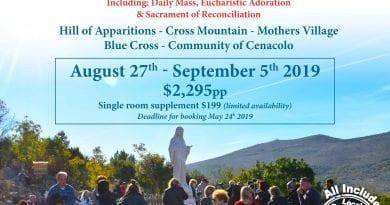 """Pilgrimage to Medjugorje August 27th – September 5th, 2019 """"A spiritual journey of a lifetime"""""""
