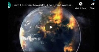 "Saint Faustina Kowalska, The ""Great Warning"" previous to the Christ's Return, Parousia"