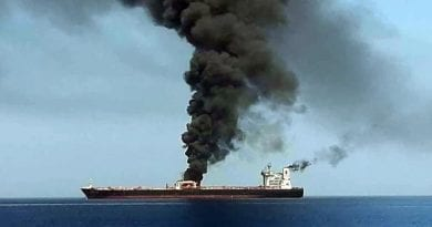 TANKER INFERNO Gulf of Oman attack – Shocking pics show huge explosions on US-linked oil tanker 'hit by torpedo' as two ships attacked near Iran…Oil prices spike.