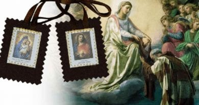 Our Lady of Carmel Revealed the power of the sacred object:  The scapular protects against Satan and the eternal fire