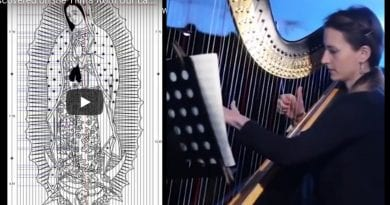 Ruth Benett playing the harp from music found on the Tilma of Our Lady of Guadalupe – Music from Heaven?