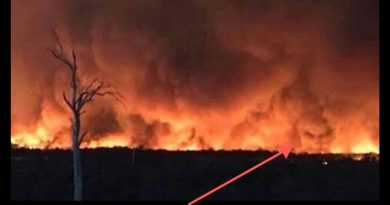 HELL ON EARTH: DEVIL FACE IN FIRE… Dairy farmer claims to have spotted the DEVIL lurking in bushfire clouds in Victoria