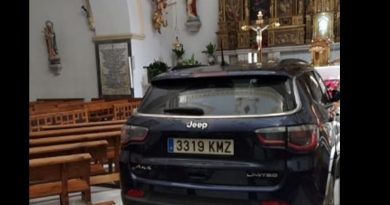 Driver 'Possessed by the devil' crashes his car into a Spanish church … runs through pews because he thought being close to altar would save him.  with Video