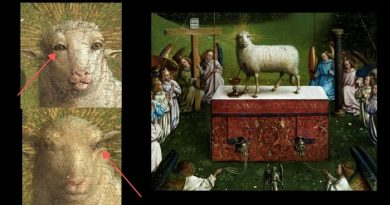"""Painting restoration stirs public…""""Remarkably human eyes leave art commentators speechless""""… """"The Adoration of the Mystic Lamb"""" — depicts a lamb, representing Jesus, being sacrificed on an altar."""