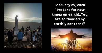 "The visionary comments on the last messages received: ""Prepare for new times on earth!..You are so flooded by earthly concerns, you do not even feel that spring is at the treshold."""