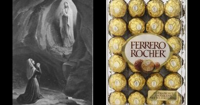 "Popular Chocolates -Ferrero Rocher –  were inspired by Virgin Mary – ""Magical"" treats named after ""craggy rock grotto"" at Lourdes. ""Without her I could do little."""