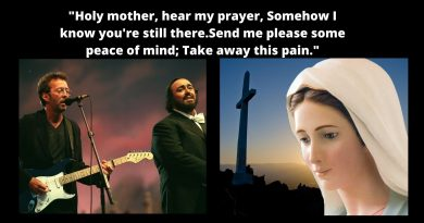 """Coronavirus go away! Little-known song about the Virgin Mary.  Eric Clapton's cry for help to the Blessed Mother. """"Holy mother, hear my prayer, Somehow I know you're still there. Send me please some peace of mind; Take away this pain."""""""