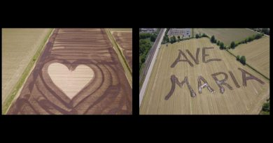 "Farmer writes huge ""Ave Maria"" in his field. Paints heart –  ""It is a sign of entrustment to Mary…I did as a devotional act"""