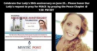 A global event for PEACE -Medjugorje Peace Chaplet on June 25th. Celebrate Our Lady's 39th anniversary at Medjugorje.  Will you honor the Queen of Peace and pray with us the Medjugorje Peace Chaplet @1:30 pm EDT?