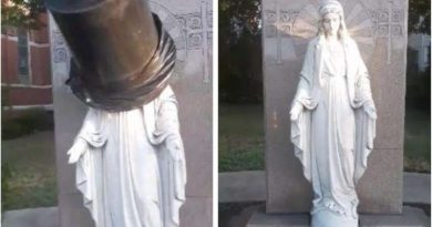 Garbage Can Found On Statue Of Virgin Mary At Dorchester Church – Not protesters – barbarians at the gate. Media silent