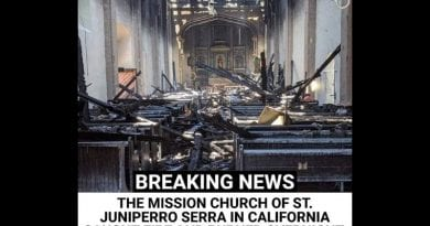 BREAKING NEWS | THE MISSION CHURCH OF ST. JUNIPERRO SERRA IN CALIFORNIA CAUGHT FIRE AND BURNED OVERNIGHT –