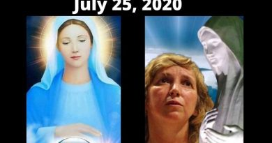 "July 25, 2020 Medjugorje Monthly Message -""In this turbulent time where the devil is harvesting souls to himself…take the cross in your hands in a special way now that the cross and faith have been rejected."""